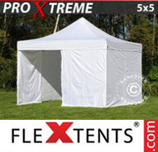 Pop up Canopy FleXtents Pro Xtreme 5x5 m White, incl. 4 sidewalls