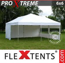 Pop up Canopy FleXtents Pro Xtreme 6x6 m White, incl. 8 sidewalls