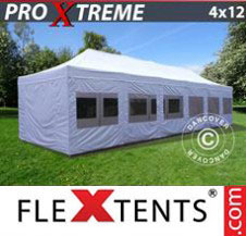Pop up Canopy FleXtents Pro Xtreme 4x12 m White, incl. sidewalls