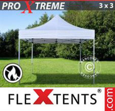 Pop up Canopy FleXtents Pro Xtreme 3x3 m White, Flame retardant