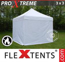 Pop up Canopy FleXtents Pro Xtreme 3x3 m White, Flame retardant, incl. 4 sidewalls