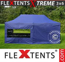 Pop up Canopy FleXtents Pro Xtreme 3x6 m Dark blue, incl. 6 sidewalls