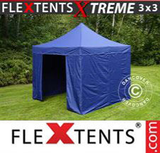 Pop up Canopy FleXtents Pro Xtreme 3x3 m Dark blue, incl. 4 sidewalls