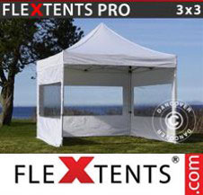 Pop up Canopy FleXtents Pro Xtreme 3x3 m White, incl. 4 sidewalls