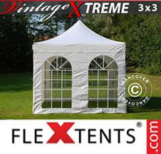 Pop up Canopy FleXtents Pro Xtreme Vintage Style 3x3 m White, incl. 4 sidewalls