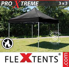 Pop up Canopy FleXtents Pro Xtreme 3x3 m Black, Flame retardant
