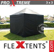 Pop up Canopy FleXtents Pro Xtreme 3x3 m Black, incl. 4 sidewalls