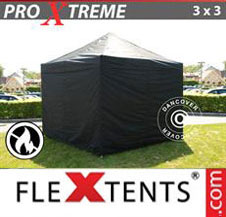 Pop up Canopy FleXtents Pro Xtreme 3x3 m Black, Flame retardant, incl. 4 sidewalls