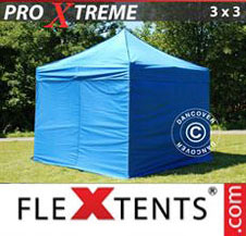 Pop up Canopy FleXtents Pro Xtreme 3x3 m Blue, incl. 4 sidewalls